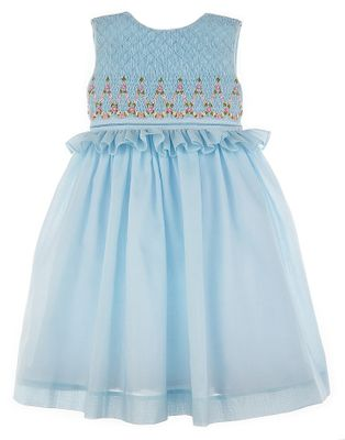 Luli & Me Girls Sleeveless Dress - Fully Smocked Bodice with Ruffle - Blue