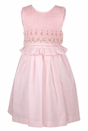 Luli & Me Girls Sleeveless Dress - Fully Smocked Bodice with Ruffle - Pink
