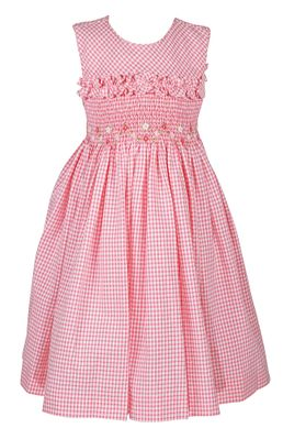 Luli & Me Girls Sleeveless Gingham Seersucker Smocked Bodice Dress - Pink