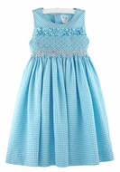 Luli & Me Girls Sleeveless Gingham Seersucker Smocked Bodice Dress - Turquoise Blue