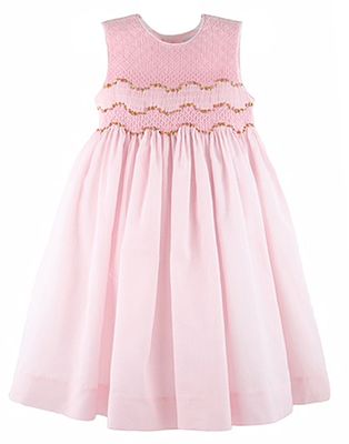 Luli & Me Girls Sleeveless Organdy Dress - Fully Smocked Bodice - Pink