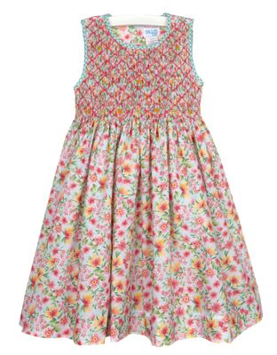 Luli & Me Girls Sleeveless Tropical Floral Dress - Fully Smocked Bodice - Green Sash Ties in Back