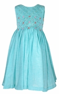 Luli & Me Girls Sleeveless Turquoise Blue Voile Dress - Fully Smocked Bodice