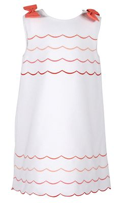 Luli & Me Girls Sleeveless White Dress - Pink Embroidery Scallops and Bows