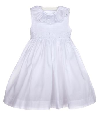 Luli & Me Girls Sleeveless White Fully Smocked Bodice Dress - Ruffle Neck & Sash