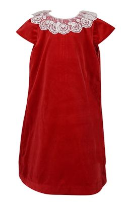 Luli & Me Girls Velvet Shift Dress with Lace Collar - Red