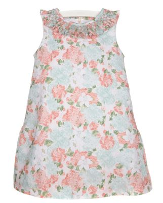 Luli & Me Girls Vintage Aqua / Coral Floral Sleeveless Dress - Smocked Collar
