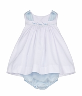 Luli & Me Girls White / Blue Embroidered Fish Set - Bows on Shoulders