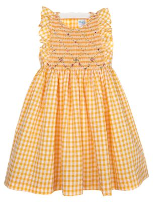 Luli & Me Girls Yellow Gingham Ruffle Dress - Sash & Fully Smocked Bodice