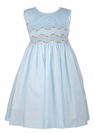 Luli & Me Sleeveless Organdy Dress - Fully Smocked Bodice - Blue