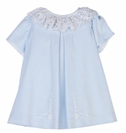 Luli & Me Toddler Girls Ice Blue Velvet Dress with Lace Trim and Embroidery
