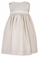 Luli & Me Toddler Girls Tan Flax Linen Blend Dress with Lace Trim