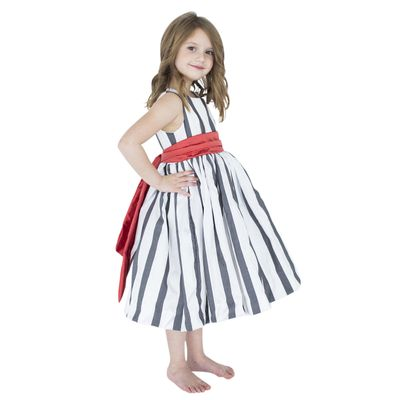 Lulla Smith Girls Laine Dupioni Silk Party Dress - Grey / White Stripes with Cherry Red Sash