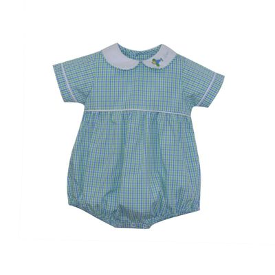 Lullaby Set Baby Boys Covington Bubble - Blue / Green Plaid with Airplane Collar