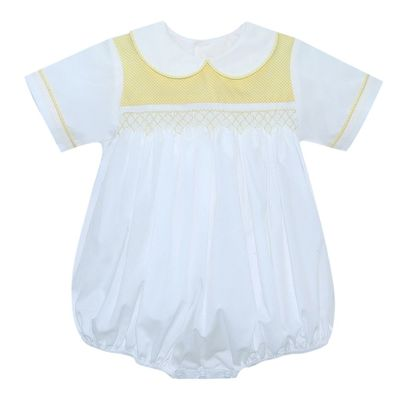 Lullaby Set Baby Boys White / Yellow Scotty Smocked Bubble