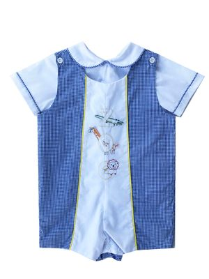 Lullaby Set Baby / Toddler Boys Blue Gingham Jon Jon with Zoo Embroidery