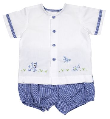 Lullaby Set Baby / Toddler Boys Louis Royal Blue Check Embroidered Puppy Dog Bloomer Set