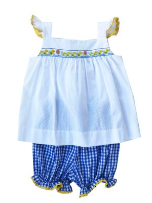 Lullaby Set Baby / Toddler Girls Blue Gingham Sally Duck Bloomers Set