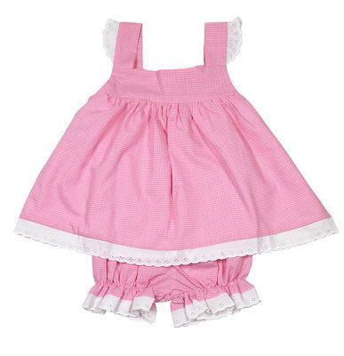 Lullaby Set Baby / Toddler Girls Pink Gingham Sally Bloomers Set - White Eyelet Trim - Cute Bow on Back!