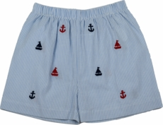 Lullaby Set Boys Stewart Shorts - Blue Anchors Aweigh Embroidery