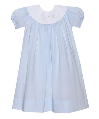 Lullaby Set Girls Blue Charlotte Dress - White Platter Collar - Easter He is Risen