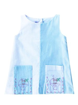 Lullaby Set Girls Pique Blue / White Color Block Dress with Pockets - Easter Basket Embroidery