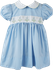 Lullaby Set Girls Legacy Sue Shaw Dress - Blue with Embroidery Flowers on White Sash