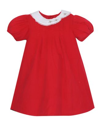 Lullaby Set Girls Eloise Dress - Red Corduroy with Holly Embroidery Collar