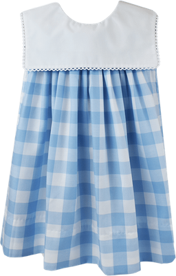 Lullaby Set Girls Hope Chest Dress - Keep Blooming - Blue Check with Square Collar