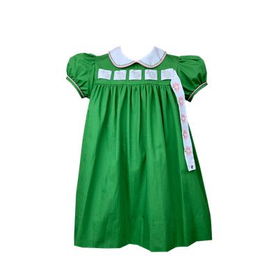 Lullaby Set Girls Memory Making Dress - Green - Changeable Ribbons for Pumpkins & Christmas Trees & Ladybugs