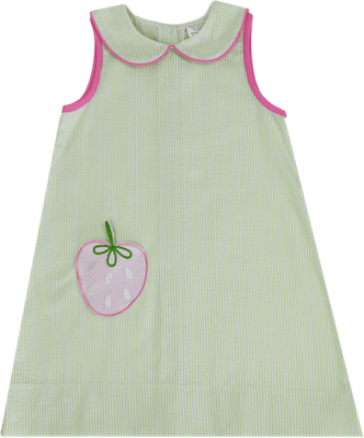 Lullaby Set Girls Olivia Dress - Summers of Childhood - Green with Strawberry