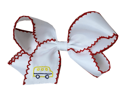 Lullaby Set Girls School Bus Bow - White Grosgrain with Red Picot Edge