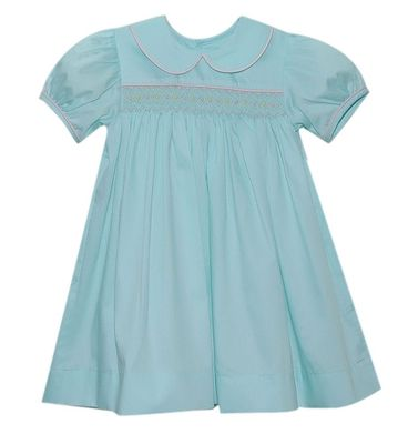 Lullaby Set Girls Seafoam Green Michelle Dress - Smocked in Pink