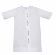 Lullaby Set Newborn Baby Boys Welcome Little One Gown - White with Christmas Holly Embroidery