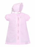Lullaby Set Newborn Baby Girls Legacy Gown & Bonnet - Pink with Christmas Holly Embroidery