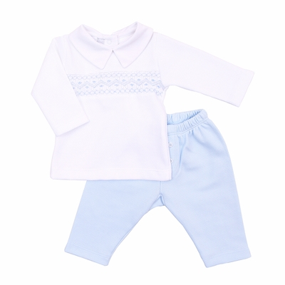 Magnolia Baby Boys Abby and Adam's Classics Smocked Collared 2pc Pant Set - Blue
