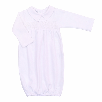Magnolia Baby Girls / Boys Abby and Adam's Classics Smocked Collared Gown - White