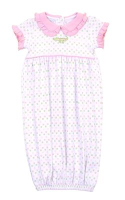 Magnolia Baby Girls Alligator Pie Gathered Gown - Pink