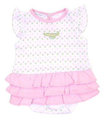 Magnolia Baby Girls Alligator Pie Flutters Ruffle Bubble - Pink