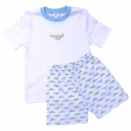 Magnolia Baby Toddler Boys Blue Alligator Pie Printed Shorts Set