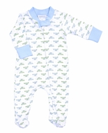 Magnolia Baby Boys Alligator Pie Print Zipped Footie - Blue