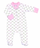 Magnolia Baby Girls Alligator Pie Printed Zipped Footie - Pink