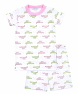 Magnolia Baby Little Girls Alligator Pie Short Pajamas - Pink
