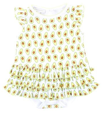 Magnolia Baby Girls Green Avocados Print Flutters Ruffle Bubble - Girl