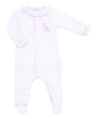 Magnolia Baby Girls Pink Baby Llama Embroidered Ruffle Footie