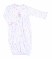 Magnolia Baby Girls Pink Baby Llama Embroidered Ruffle Gown