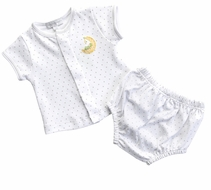 Magnolia Baby Boys / Girls Unisex Baby Moon Diaper Set - White
