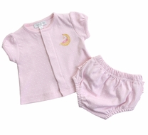 Magnolia Baby Girls Baby Moon Ruffle Diaper Cover Set - Pink