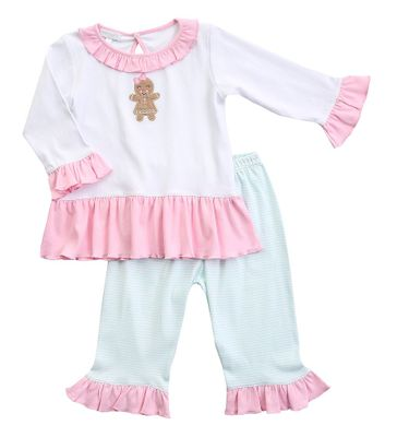 Magnolia Baby Little Girls Pink / Aqua Baked with Love Gingerbread Ruffle Pant Set