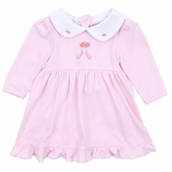 Magnolia Baby Girls Pink Ballet Dreams Embroidered Dress with Collar